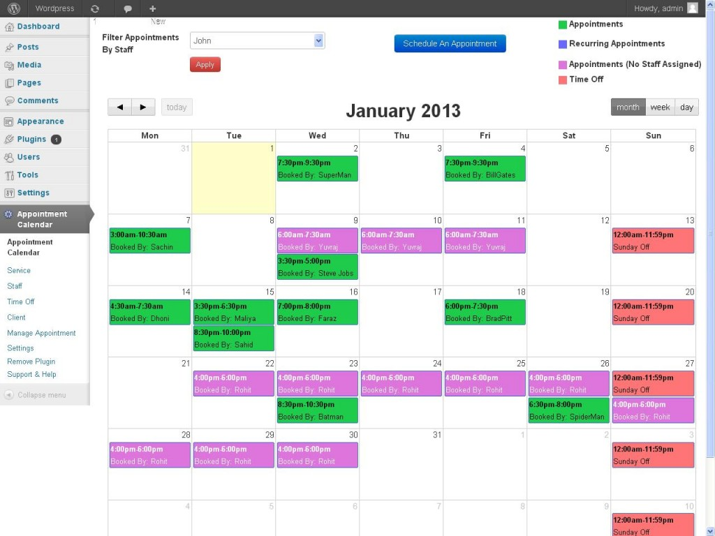 Calendar ScreenShot - Pastel Colors - Appointzilla