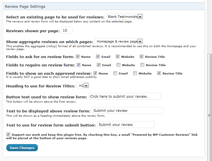 Wp Customer Reviews - Setting Page